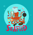cook - octopus is cooking cartoon style vector image vector image