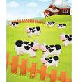 Cows on a farm vector image
