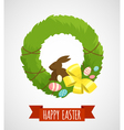 Easter card with easter wreath isolated vector image vector image