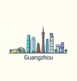 flat line guangzhou banner vector image vector image