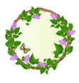 floral round frame lilac with butterfly vector image vector image