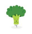funny cartoon broccoli practicing yoga vector image