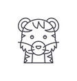 funny tiger line icon concept funny tiger vector image vector image