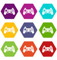 game controller icon set color hexahedron vector image vector image