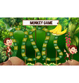 game template with monkeys in forest vector image vector image