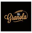 granola lettering logo wheat on black vector image vector image