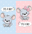 greeting card with cute mouses boy and girl vector image