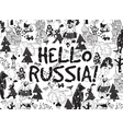 Hello Russia black on white card snow and winter vector image vector image
