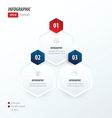 Hexagon infographic 2 color red and blue vector image