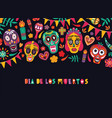 horizontal banner template with dia de los muertos vector image