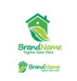 house and green leaf logo vector image vector image
