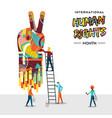 international human rights card of people teamwork vector image vector image
