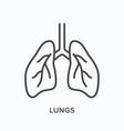 lungs line icon outline of vector image