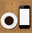 mobile phone with blank screen and coffee cup on vector image