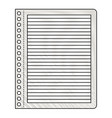 notebook paper with horizontal lines in colored vector image vector image