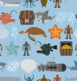 Ocean life seamless pattern Shark and aquatic vector image vector image