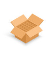 opened cardboard box without bottle vector image vector image