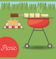 picnic grilled basket meadow tree vector image vector image