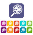 pizza with ingredients on board icons set flat vector image vector image