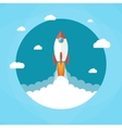 Rocket in the clouds Start up concept vector image vector image