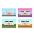 school set in different seasons background vector image