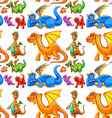 Seamless different type of dragons vector image vector image