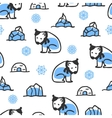 Seamless pattern with cute doodle polar bear vector image vector image