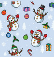 seamless snowman christmas cartoon pattern vector image vector image