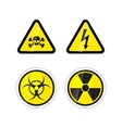 set four warnings signs for high voltage vector image