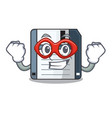 super hero floppy disk isolated with a mascot vector image vector image
