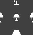 Table lamp Icon sign Seamless pattern on a gray vector image vector image