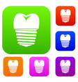 tooth implant set collection vector image vector image