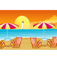 Two umbrellas and four chairs at the beach vector | Price: 1 Credit (USD $1)