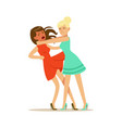 two young women characters fighting and quarelling vector image vector image