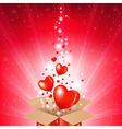 Valentines Day Card With Box And Sunburst vector image vector image