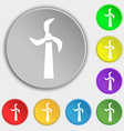 Windmill icon sign Symbol on eight flat buttons vector image
