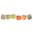 Word SUMMER written with alphabet blocks vector image vector image