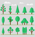 tree icon set with clouds and grass vector image