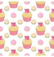 Pink crown cupcakes and meringues seamless vector image