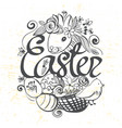 ink hand drawn black and white easter vector image