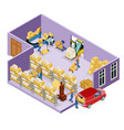 isometric warehouse logistic template vector image