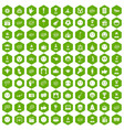 100 emotion icons hexagon green vector image vector image