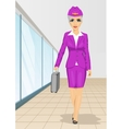 Air hostess walking with flight case vector image vector image