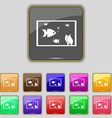 Aquarium Fish in water icon sign Set with eleven vector image vector image