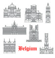 architecture buildings belgium icons vector image vector image