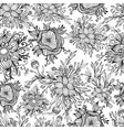 black and white fantasy flowers seamless pattern vector image