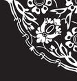 Black and white round floral border corner vector image
