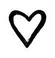 black hand drawn heart on white background vector image vector image