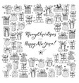 card with gift boxes hand-drawn doodle sketch vector image vector image