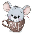 cartoon mouse is sitting in a cup coffee vector image vector image